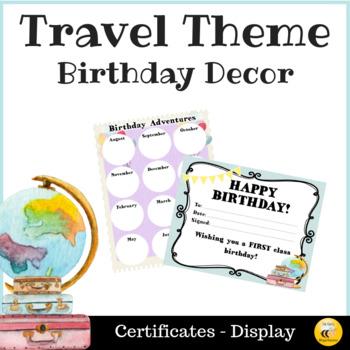 Travel Themed Birthday Display & Certificates - Editable