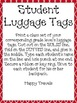 "Travel Themed Classroom Add On--Editable Student Backpack ""Luggage Tags"""