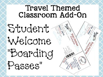 """Travel Themed Classroom Add On--Editable Student Welcome """"Boarding Passes"""""""