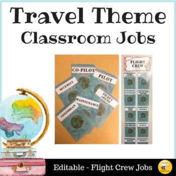 Travel Themed Classroom Jobs - Editable