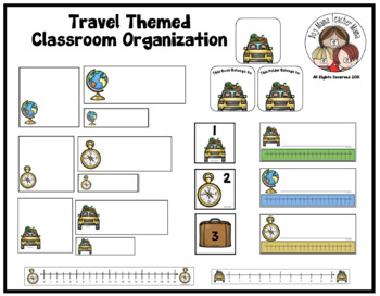 Travel Themed Classroom Organization Materials Set