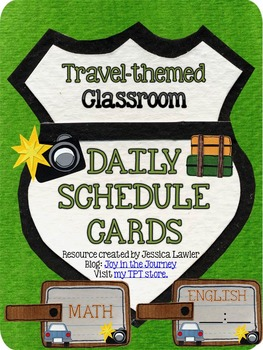 Travel Themed Classroom Schedule Cards