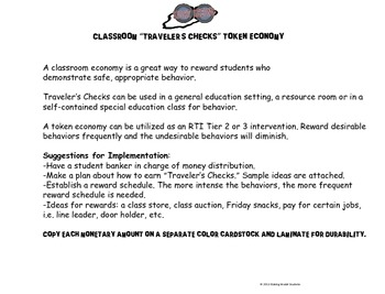 Travel-Themed Classroom Token Economy (Traveler's Checks)