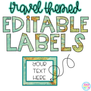Travel Themed Editable Labels {Map Background}