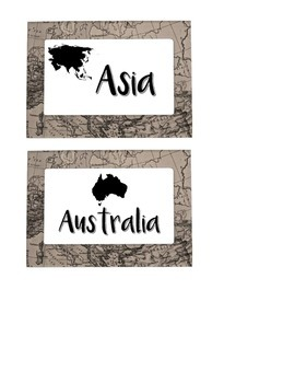 Travel Themed Table Group Name Cards