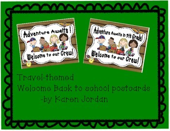Travel-Themed Welcome Back to School Postcards 5th grade