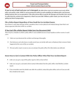 Travel & Transportation (B): Accident Report (Adult ESL)