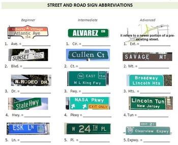 Travel & Transportation (B): Street and Road Sign Abbreviations (Adult ESL)