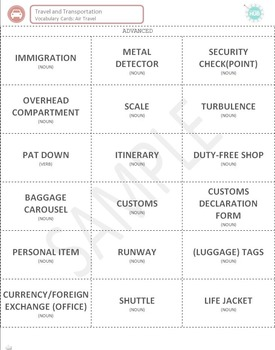 Travel & Transportation (C): Air Travel Vocabulary Cards (Adult ESL)
