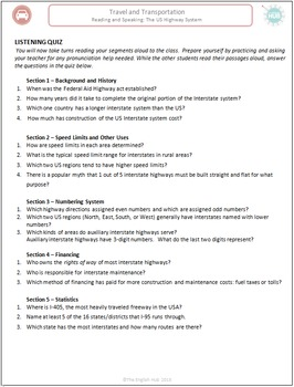 Travel & Transportation (C): US Highways (Reading Comprehension)  (Adult ESL)