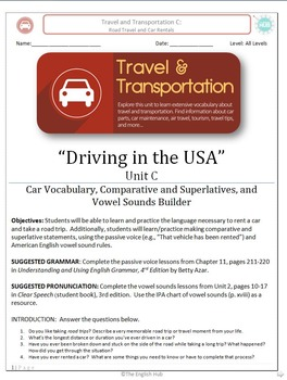 Travel & Transportation (Unit C Packet): Road Travel in the U.S.A.  (Adult ESL)