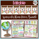 Travel Watercolor Classroom Decor Editable Bundle