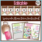 Travel Watercolor Classroom Decor Editable Binder Covers &