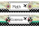 Travel and Polka Dot Drawer Labels