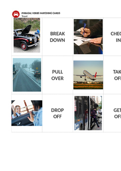 Travel and Transportation: Travel Phrasal Verbs Matching Cards