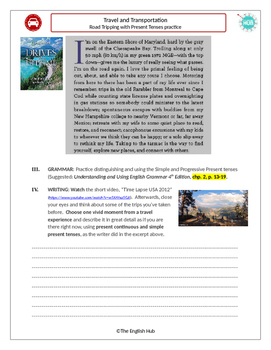 Travel & Transportation (C): Road Trips (with Present Tense Practice)