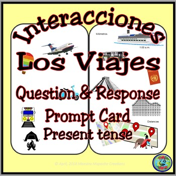 Travel and Vacation Question and Answer Prompt Card - present tense