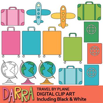 Travel by plane clip art (planner sticker clipart)