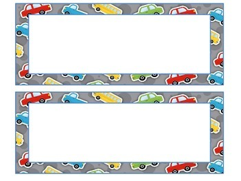 Travel, cars, roadtrip themed desk nameplates and labels