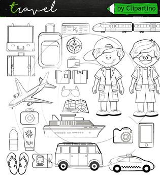 Travel clipart 32 files +black white clip art