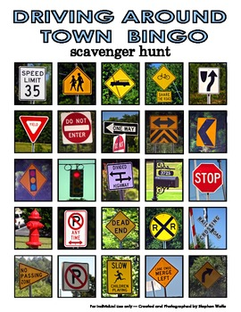 Travel or Around Town Bingo Scavenger Hunt -