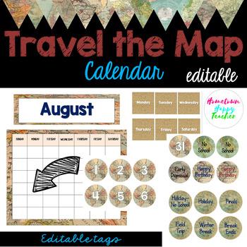Travel the Map- Calendar (Editable)