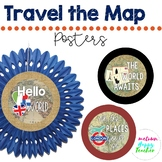 Travel the Map Circle Posters