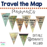 Travel | Map Theme | Pennant Flags | EDITABLE