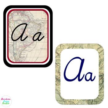 Travel the Map Cursive Alphabet