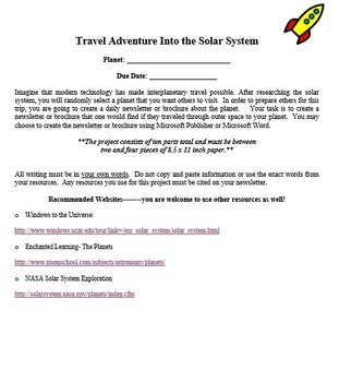 Travel the Planets Brochure! (Assessment - Research Project)