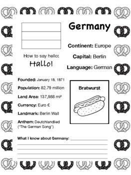 Travel the World Worksheet: Germany