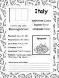 Travel the World Worksheet: Italy