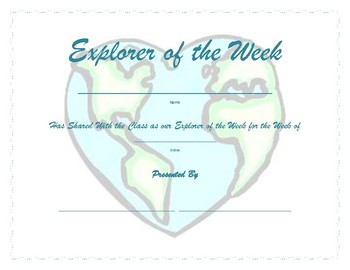 Travel theme- Explorer of the Week