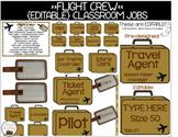 Travel themed Classroom Job Display Cards Editable