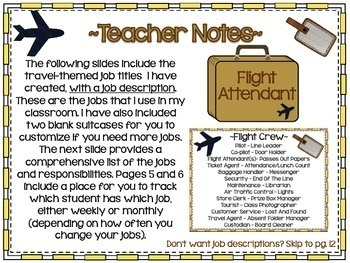 Travel themed Classroom Job Display Cards Editable