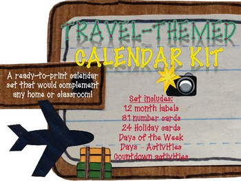 Travel-themed Printable Calendar Set