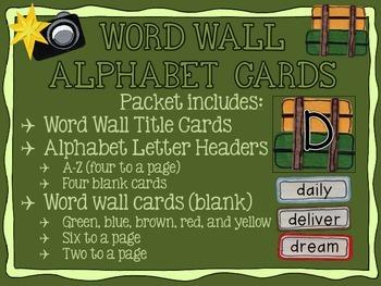 Travel themed Word Wall Alphabet Cards