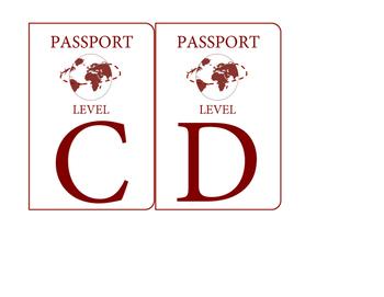 Travel themed passport book bin labels