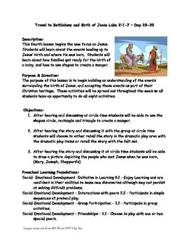 Travel to Bethlehem & Birth of Jesus lesson & activities