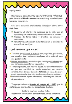 Traveler book of numbers in SPANISH / Libro viajero de los números ESPAÑOL