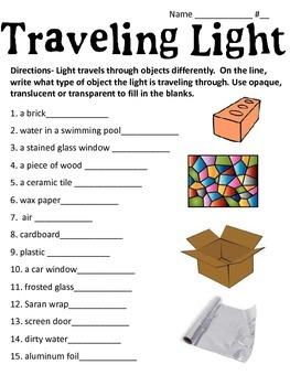 Traveling Light: Transparent, Translucent or Opaque