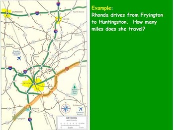 Traveling Math - Adding Miles on a Map; Real World Math (POWERPOINT)