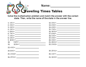 Traveling Times Tables (with Key)