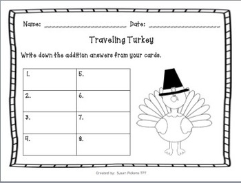 Traveling Turkey (Addition & Subtraction with Number Lines)