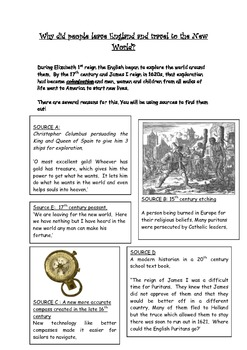 Travelling to the New World-Native American History source worksheet