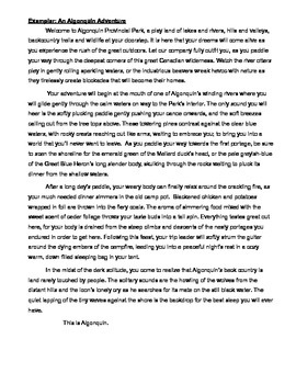 Travelogue - Figurative Language & Descriptive Writing