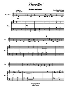 Travlin' (American Spiritual) for French horn solo and piano