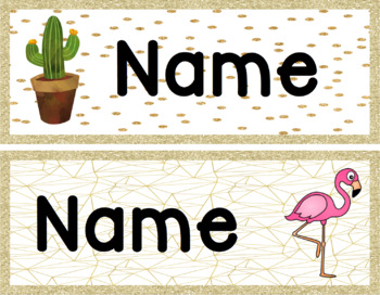 Tray/Desk labels. Cactus, Watermelon and flamingo theme.