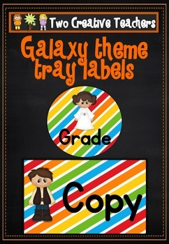 Teacher Tray Labels Galaxy Theme