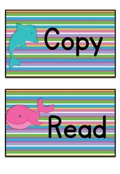 Teacher Tray Labels Ocean Theme
